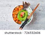 hawaiian salmon poke bowl with... | Shutterstock . vector #726532606