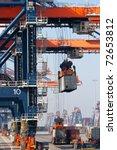 large harbor cranes | Shutterstock . vector #72653812