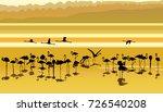 Flamingos At Sunset. Flat Vector