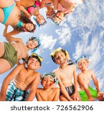 big group of kids having fun on ... | Shutterstock . vector #726562906