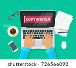 copywriter working on laptop... | Shutterstock .eps vector #726566092