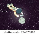 sketch of astronaut with loupe. ... | Shutterstock .eps vector #726573382