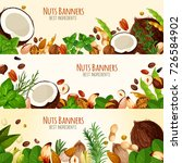 nuts and fruit seeds banners.... | Shutterstock .eps vector #726584902