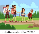 happy family hikers. autumn... | Shutterstock .eps vector #726590932
