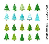 flat christmas winter trees... | Shutterstock .eps vector #726590935