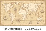 vintage physical world map with ... | Shutterstock .eps vector #726591178