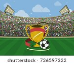 soccer stadium with gold trophy ... | Shutterstock .eps vector #726597322