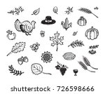 vector thanksgiving icon set.... | Shutterstock .eps vector #726598666