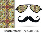 retro hipster ornate sunglasses ... | Shutterstock .eps vector #726601216