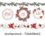 christmas set  with festive... | Shutterstock .eps vector #726608662