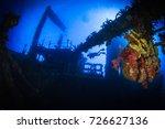 silhouette of a freedive ... | Shutterstock . vector #726627136