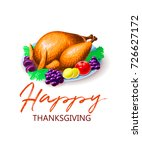 thanksgiving turkey with fruits ... | Shutterstock .eps vector #726627172