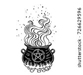 magic witch cauldron of boiling ... | Shutterstock .eps vector #726629596
