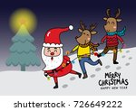 santa clause and reindeer with... | Shutterstock .eps vector #726649222