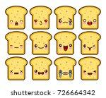 bread slice toast cartoon... | Shutterstock .eps vector #726664342