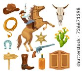 colorful wild west elements set ... | Shutterstock .eps vector #726671398
