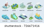 Stock vector isometric environmental eco plants set with factories and stations which using alternative energy 726671416