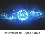 Stock photo abstract glowing digital currency button ico initial coin offering on virtual digital electronic 726671836