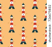 lighthouse  with birds  pattern ... | Shutterstock .eps vector #726675832