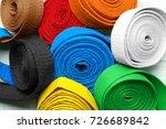 colorful karate belts  closeup | Shutterstock . vector #726689842