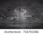old black brick wall with crack ... | Shutterstock . vector #726701386