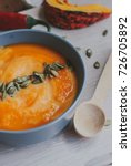 roasted pumpkin and carrot soup ... | Shutterstock . vector #726705892
