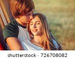 romantic hipster couple enjoy... | Shutterstock . vector #726708082