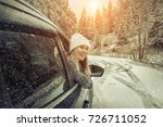 woman at winter time. yoyng... | Shutterstock . vector #726711052
