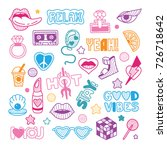 vector doodle girly party and... | Shutterstock .eps vector #726718642
