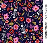 dancing skeletons in the floral ... | Shutterstock .eps vector #726719848