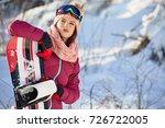 sport woman  snowboarder on...   Shutterstock . vector #726722005