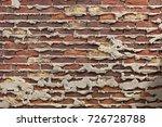 very old dark brick wall with...   Shutterstock . vector #726728788