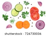 tomato  cucumber and carrot... | Shutterstock . vector #726730036