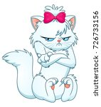 cartoon grumpy white cat with... | Shutterstock .eps vector #726733156