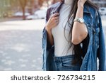 fashionable young woman in... | Shutterstock . vector #726734215