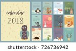 super cute calendar 2018 vector ... | Shutterstock .eps vector #726736942