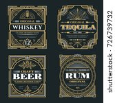 vintage whiskey and alcoholic... | Shutterstock .eps vector #726739732