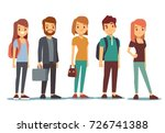 queue of young people. waiting... | Shutterstock .eps vector #726741388
