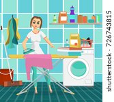 woman housewife iron clothes on ... | Shutterstock .eps vector #726743815