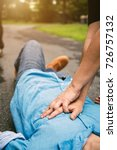 emergency cpr on a man who has... | Shutterstock . vector #726757132
