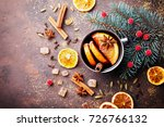 cup of christmas mulled wine or ... | Shutterstock . vector #726766132