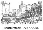 sketch of darling harbour... | Shutterstock .eps vector #726770056
