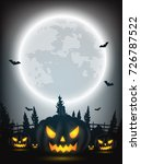 halloween night background with ... | Shutterstock .eps vector #726787522