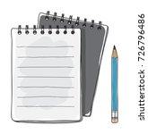 black notebook and blue pencil... | Shutterstock .eps vector #726796486