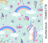 magic cute unicorn with magic... | Shutterstock .eps vector #726801778