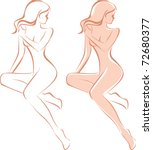 beautiful nude woman silhouette | Shutterstock .eps vector #72680377