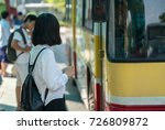 young girl waiting for bus at... | Shutterstock . vector #726809872