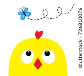 chicken head face big eyes red...   Shutterstock .eps vector #726810076