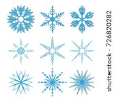 set of snowflakes. blue... | Shutterstock .eps vector #726820282