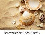 summer background. seashells on ...   Shutterstock . vector #726820942